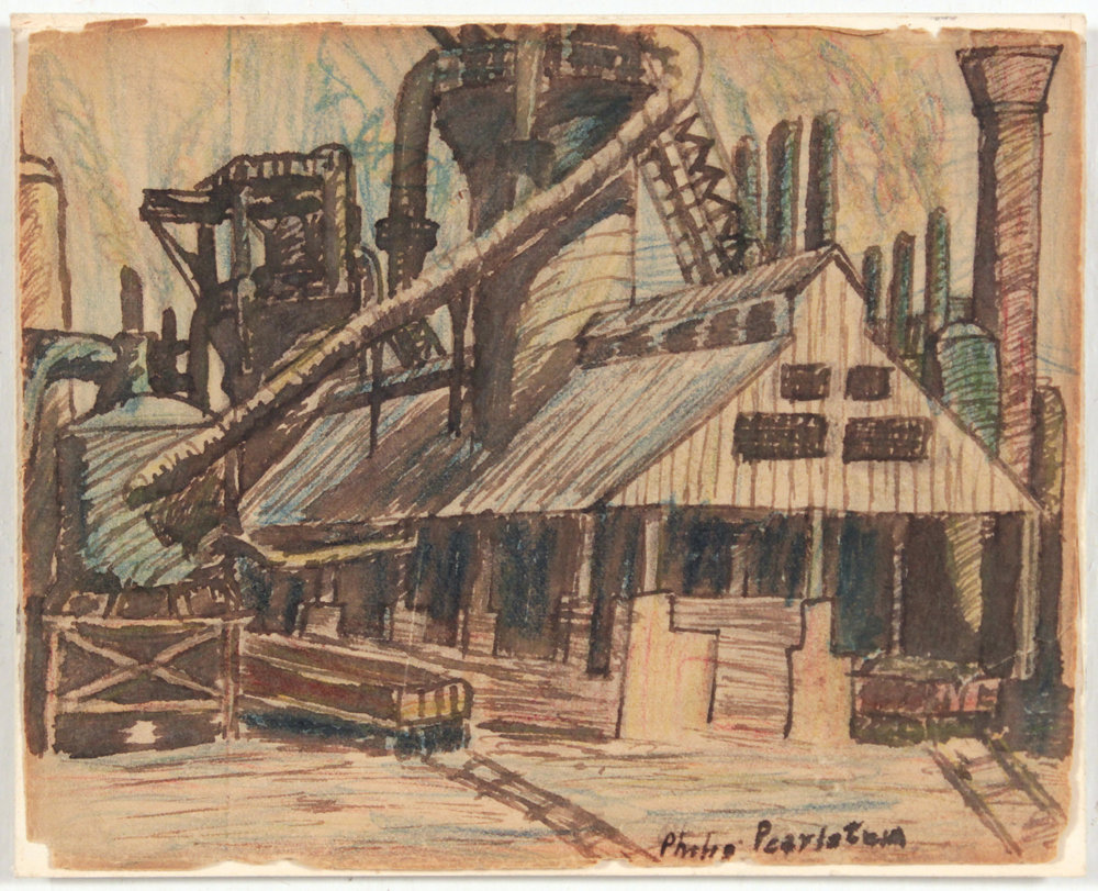 23. 1948-49, Image 38, (Pittsburg Factory), Pen and Ink, Wash and Crayon on Paper, 4x5, PPS 1408.JPG