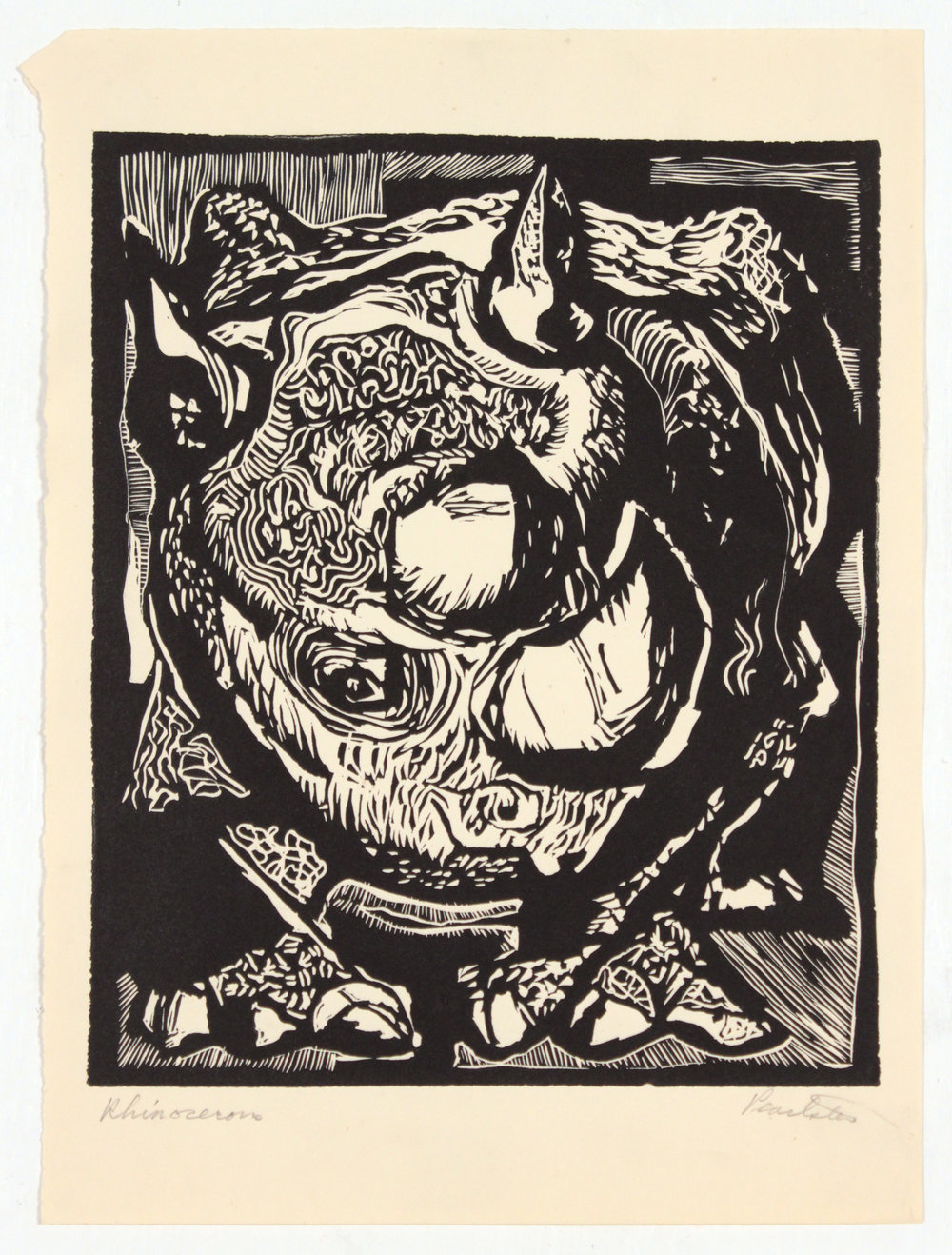 3. 1947-48 c, Collection of Early Prints Done at Carnegie Tech, Rhinoceros, Linoleum Cut, 11.25x8.3125, PPS 1312.JPG