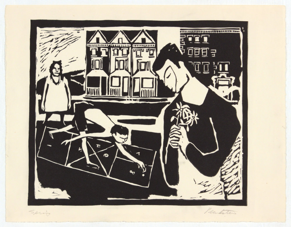 5. 1947-48 c, Collection of Early Prints Done at Carnegie Tech, Spring, Linoleum Cut, 8.75x11.50, PPS 1314.JPG
