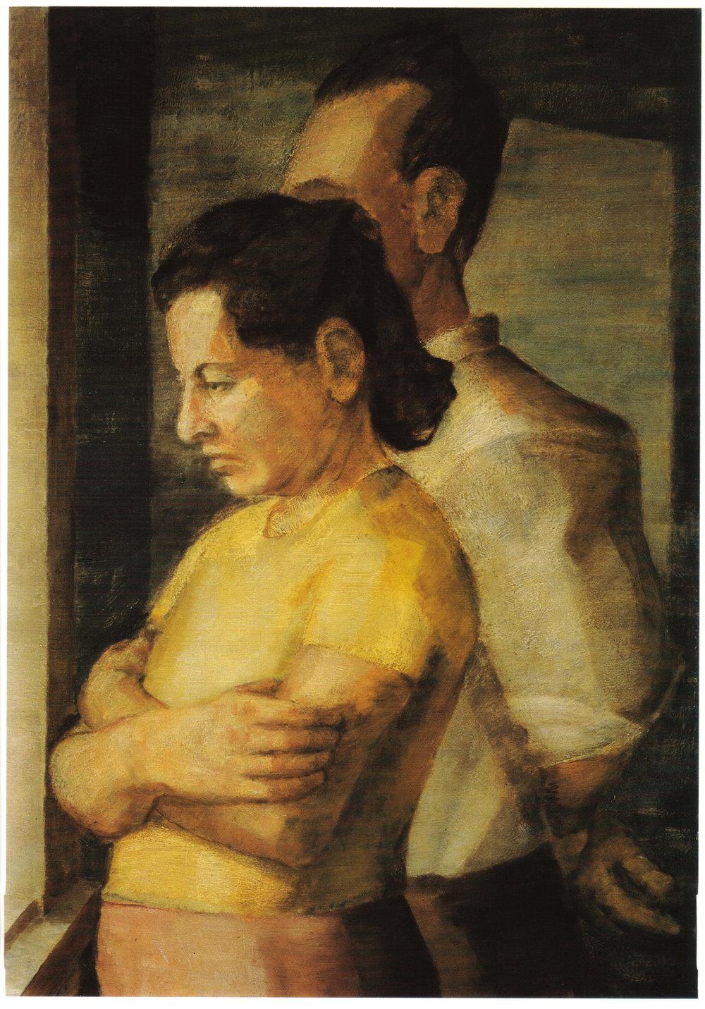 2. 1943, Double Portrait of the Artist's Parents, Oil on masonite, 25x18, 1943.jpg