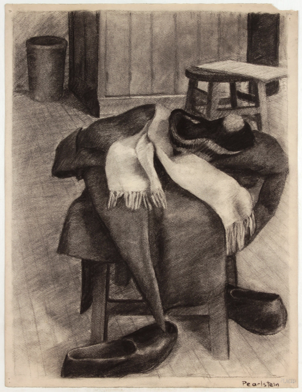 3. 1943, NT (Coat,Hat, Scarf, Shoes) Charcoal on Paper, 25x19, PPS 1496.JPG