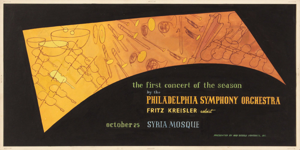 1. 1940's c, Image 48_Philadelphia Symphony Orchestra, Poster Paint on Board, 10x20 1:8, PPS 1421.JPG