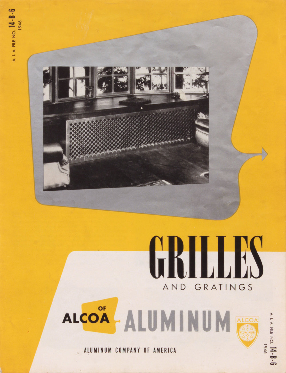 6. 1946, Alcoa Aluminum, Grilles and Gratings, Designed by Robert Lepper, Executed partly by Philip Pearlstein, 11x8 1:2, PPS 1573.JPG