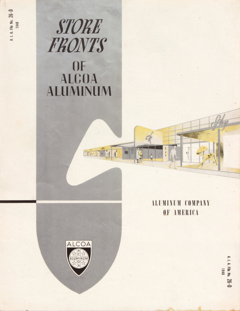 8. 1948, Alcoa Aluminum, Store Fronts, Designed by Robert Lepper, Executed partly by Philip Pearlstein, 11x8 1:2, PPS 1577.JPG