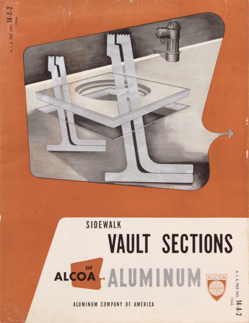 9. 1946, Alcoa Aluminum, Sidewalk Vault Sections, Design by Robert Lepper, Executed partly by Philip Pearlstein, Painting by Philip Pearlstein, 11x8 1:2, PPS 1574.JPG