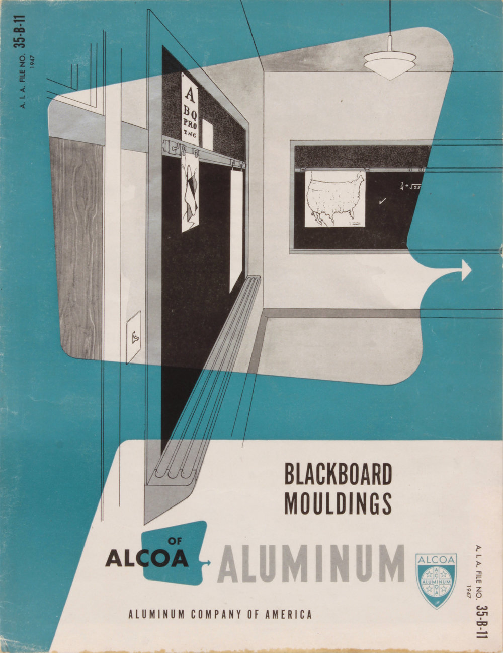 11. 1947, Alcoa Aluminum, Blackboard Mouldings, Design by Robert Lepper, Executed partly by Philip Pearlstein, 11x8 1:2, PPS 1576.JPG