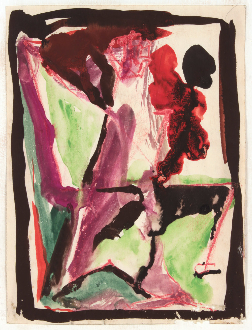 4. 1946-47 c, NT (Class Exercise 2_ Seated Abstract_Purple, Green, Red and Black), Wash and Ink on Paper, 7.875x5.9375, PPS 1461.JPG
