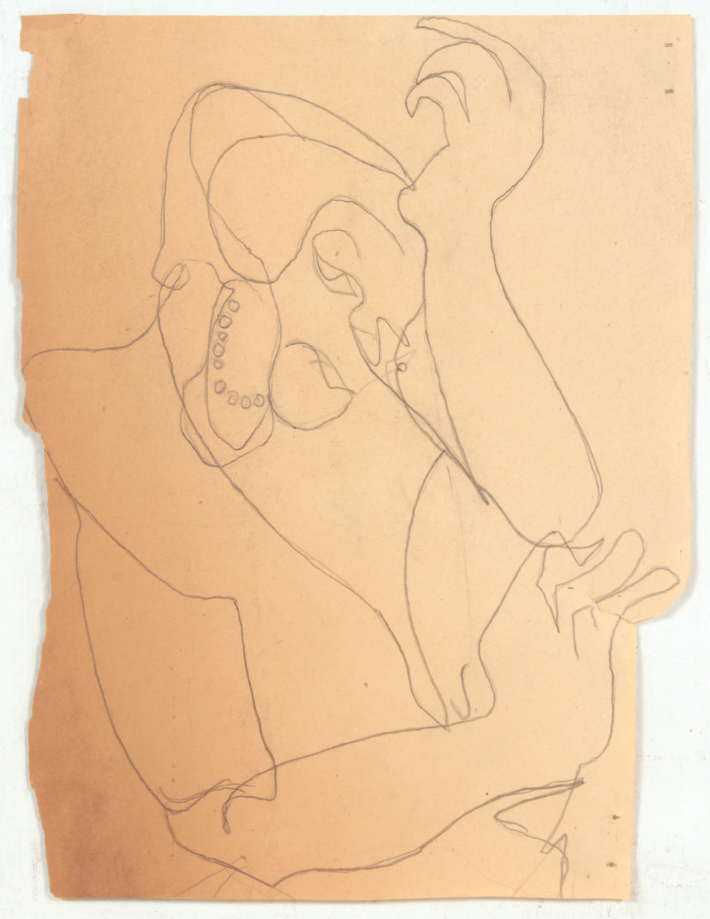 41. 1947-48 c, NT (Lady Holding Head with Pearls), Graphite on Paper, 8.75x6.75, PPS 1438.JPG