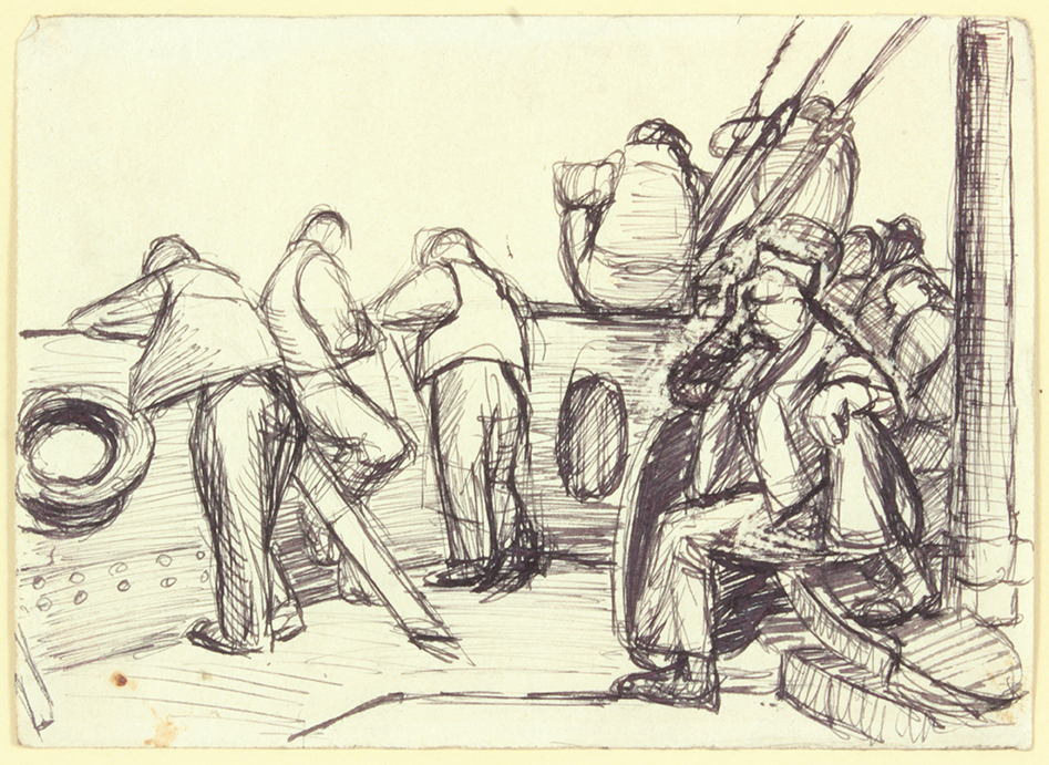 Convoy to Italy XIV , 1944 Pen and Ink on Paper 4.75 x 6.625