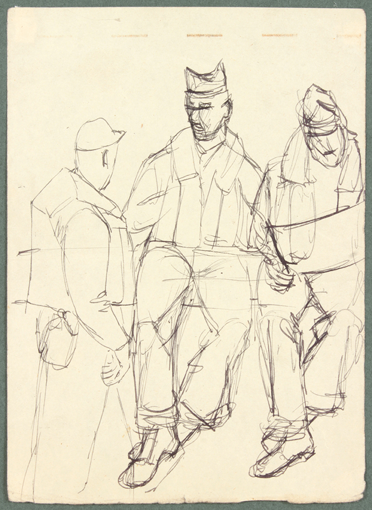 NT (3 soldiers, one reading) , 1944 Pen and Ink on Paper 6.625 x 4.8125 in
