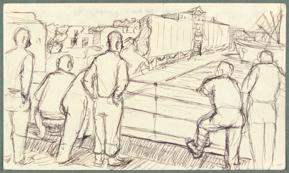 NT (6 Soldiers Watching a Ship and Ruins) , 1944 Pen and Ink on Paper 3 x 5 in