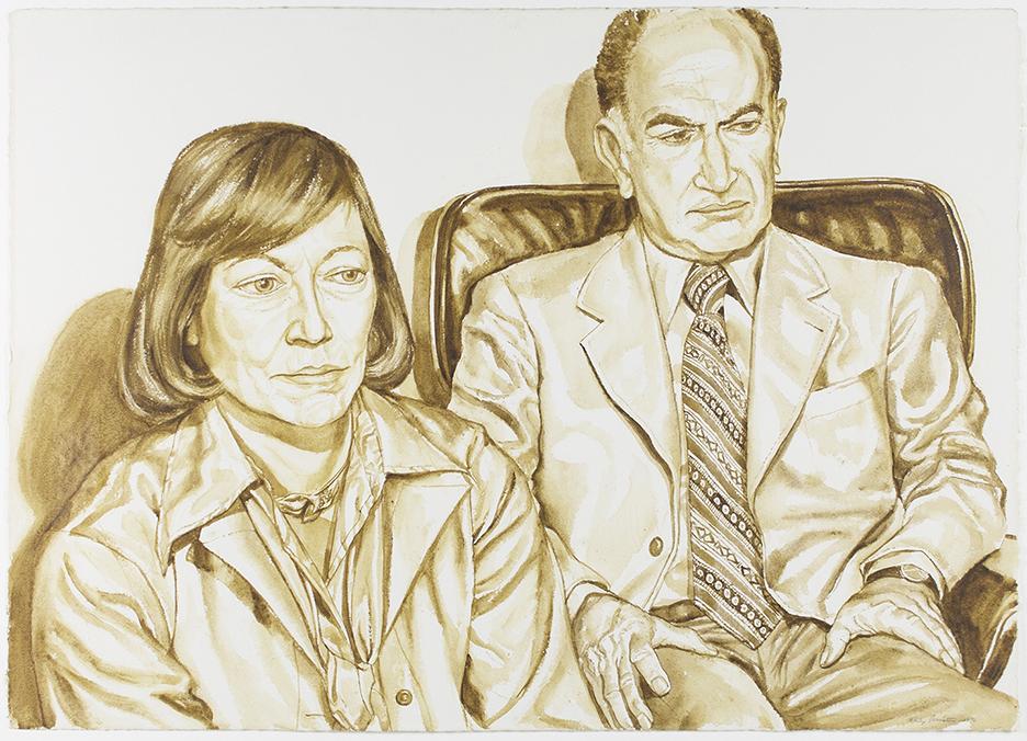 Shirley & Mr. Aidichman , 1976 Wash Approx 29 x 40 in