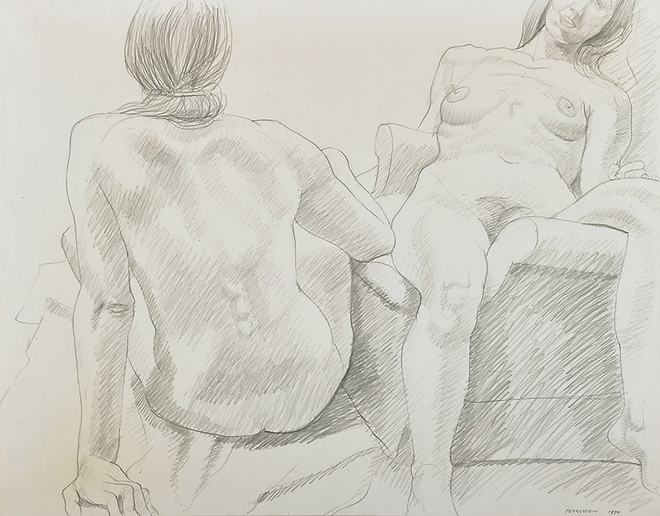 Two Seated Female Models , 1970 Pencil on paper 18.75 x 24 in