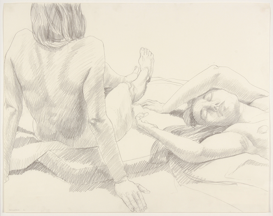 TWO NUDES, ONE LEANING BACKWARD , 1969 Pencil on watercolor paper 22 1/4 x 28 inches
