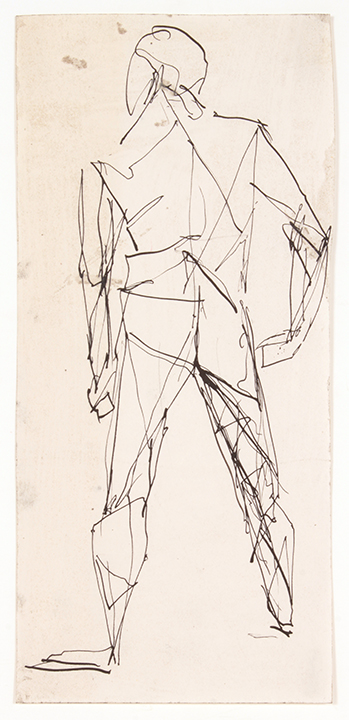 No Title (Standing Male, Back) , No Date (College) Ink on Paper 10.3125 x 4.625