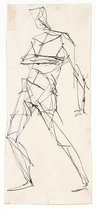 No Title (Standing Male, Front),  No Date Ink on Paper 10.375 x 4.3125 in