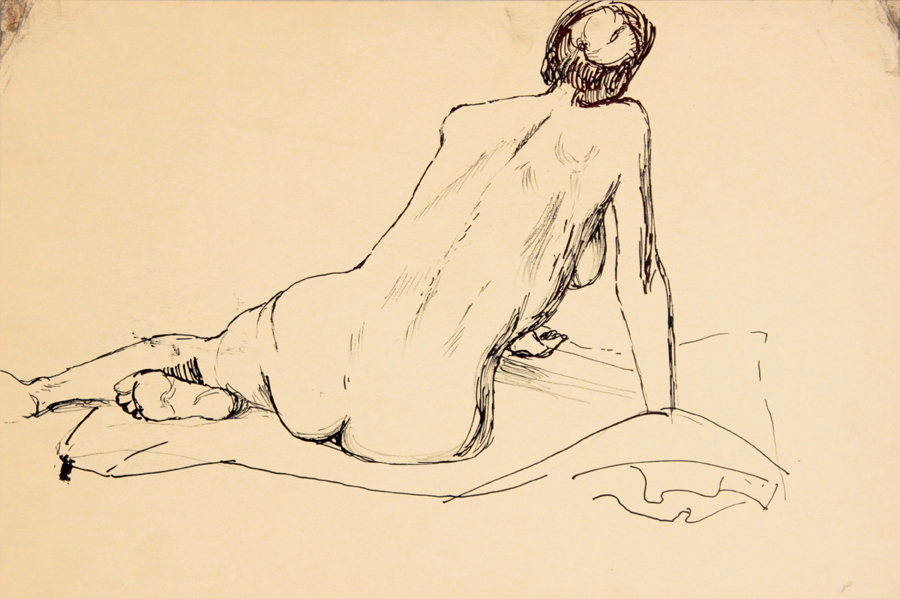ND, Back of Leaning Model, Ink, 11.875x17.875, PPS 936.jpg