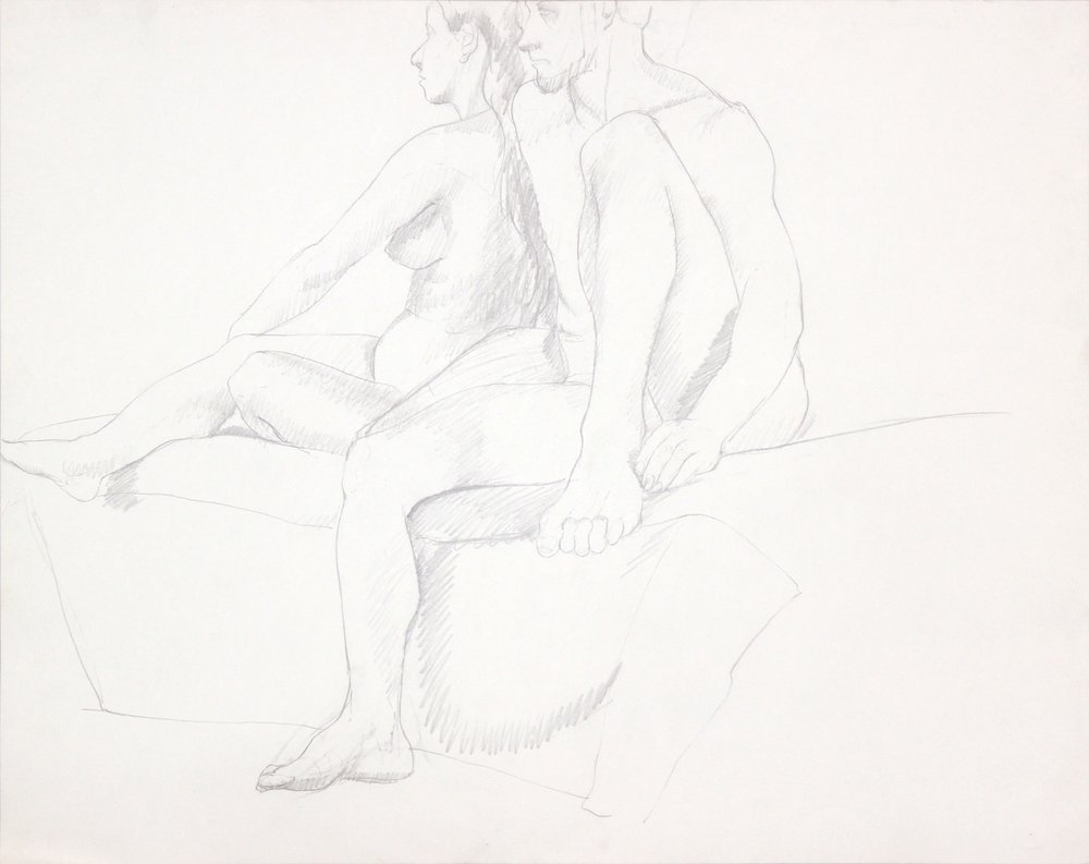 ND, Female and Male Nudes Seated Together, Graphite, 22.625x28.5, PPS 995.JPG