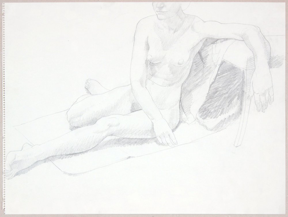 ND, Female Model Seated on Floor, Graphite, 17.875x23.875, PPS 982.JPG