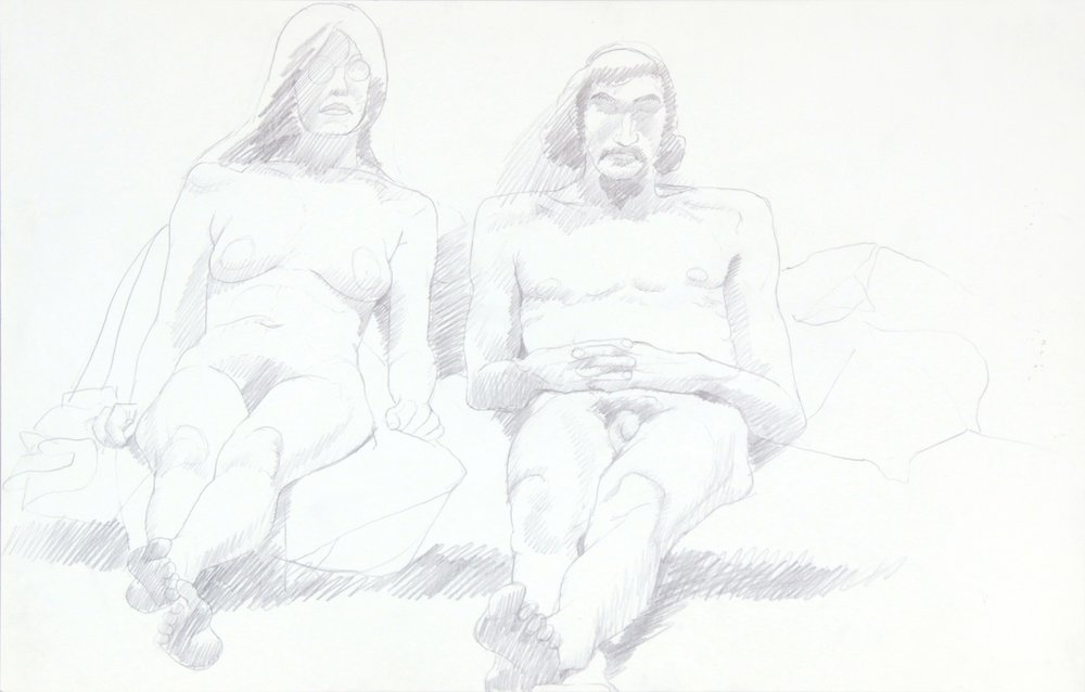 ND, Female Model Wearing Glasses and Male Model, Graphite, 14x22, PPS 957.JPG