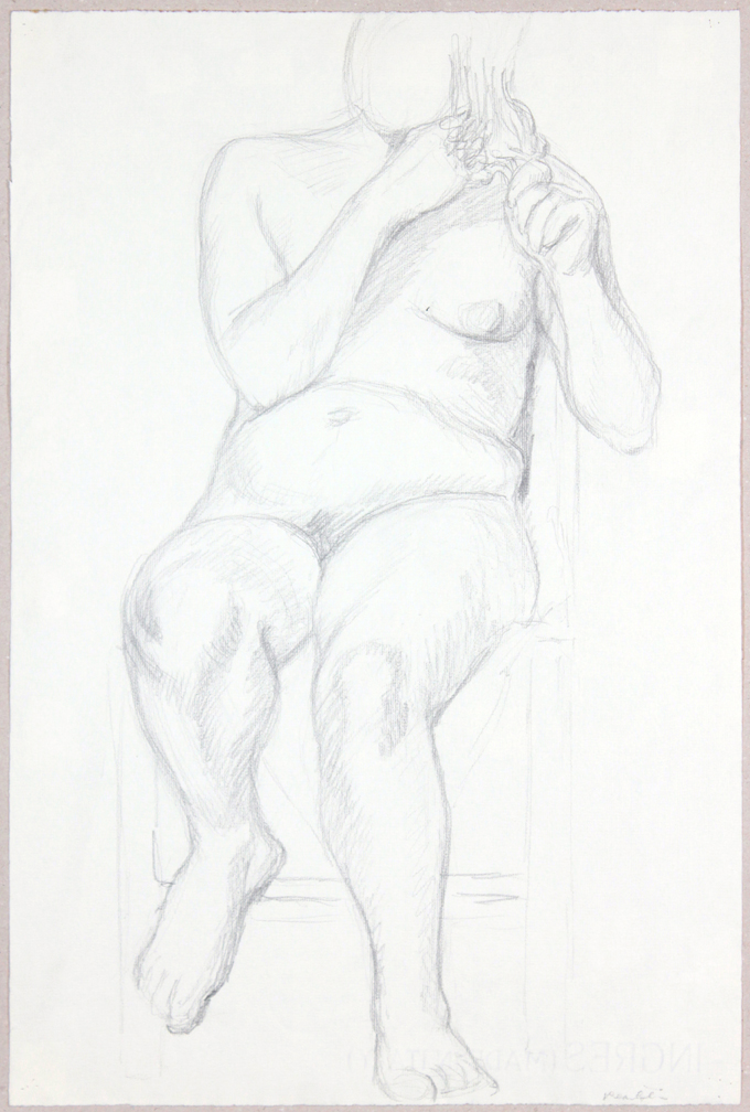 ND, Female Nude Holding Her Hair, Graphite, 19x12.25, PPS 947.JPG