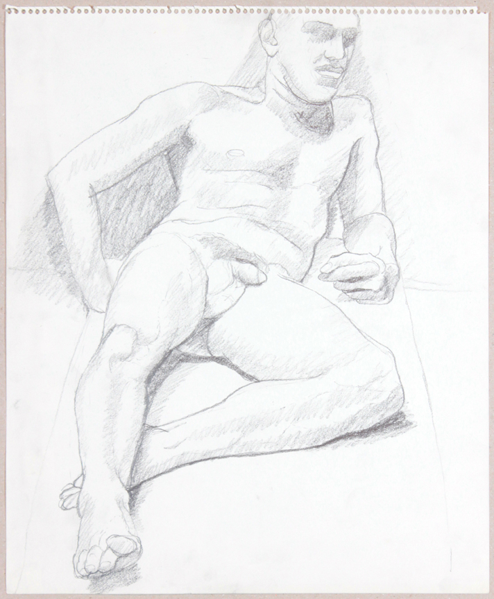 ND, Leaning Male Nude in Studio, Graphite, 17x14, PPS 933.jpg