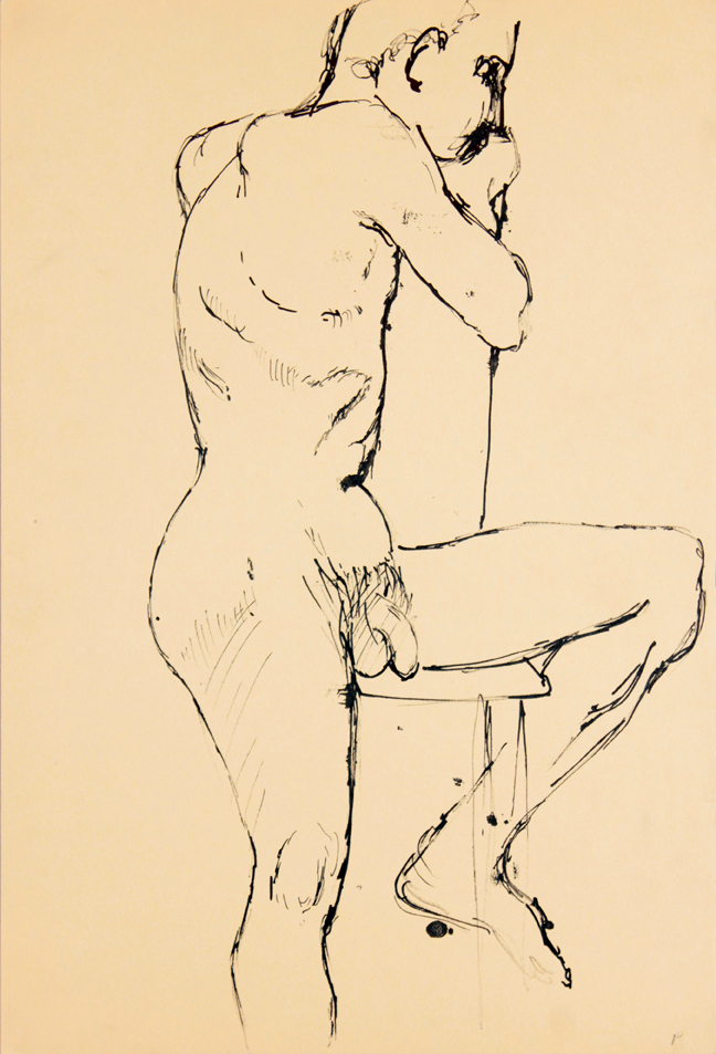ND, Male Model Seated on Chair with One Leg Extended, Ink, 17.875x12, PPS 941.jpg
