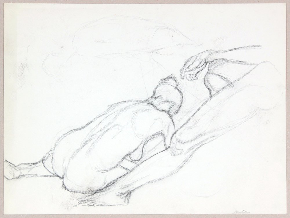 ND, Model Leaning Forward and Model with Leg Outstretched, Graphite, 14.875x20, PPS 955.JPG