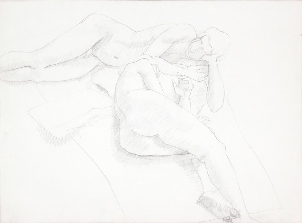 ND, Reclined Female and Male Nudes, Graphite, 22.125x29.875, PPS 989.JPG