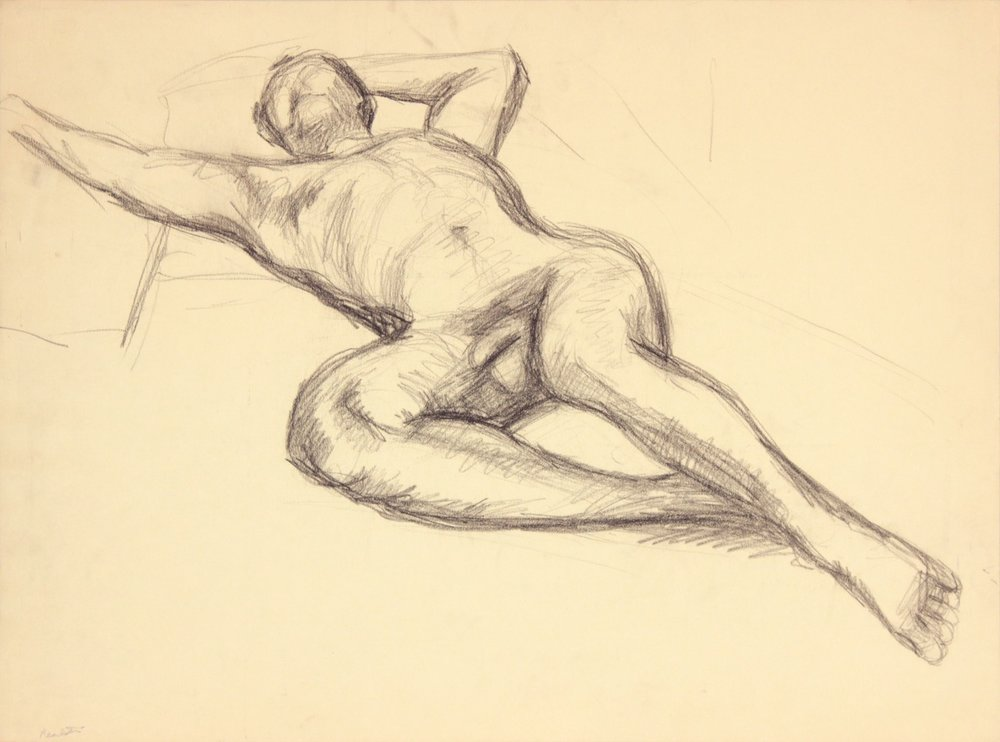 ND, Reclining Male Model with Right Arm Outstretched, Graphite, 17.75x24, PPS 978.JPG