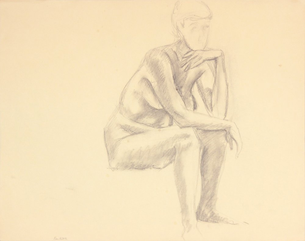 ND, Seated Female Leaning Forward, Graphite, 19x24, PPS 973.JPG