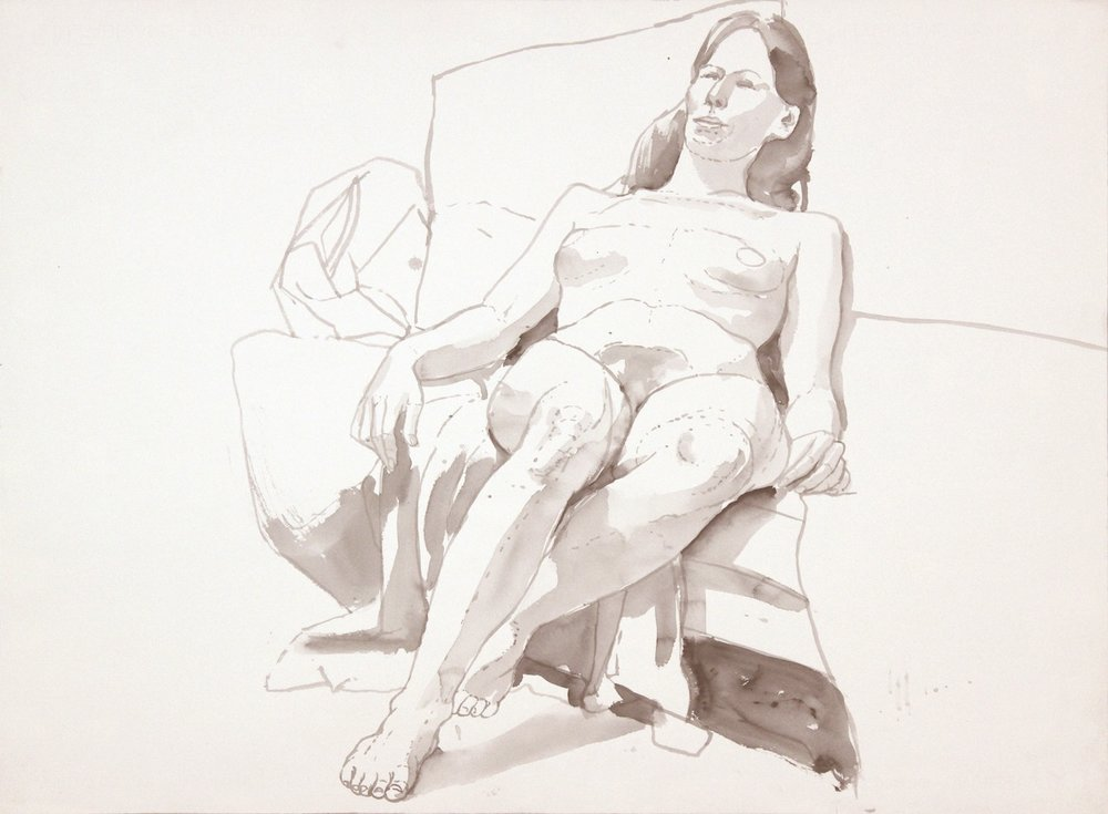 ND, Seated Female Model Leaning Back, Wash, 22.125x29.875, PPS 992.JPG