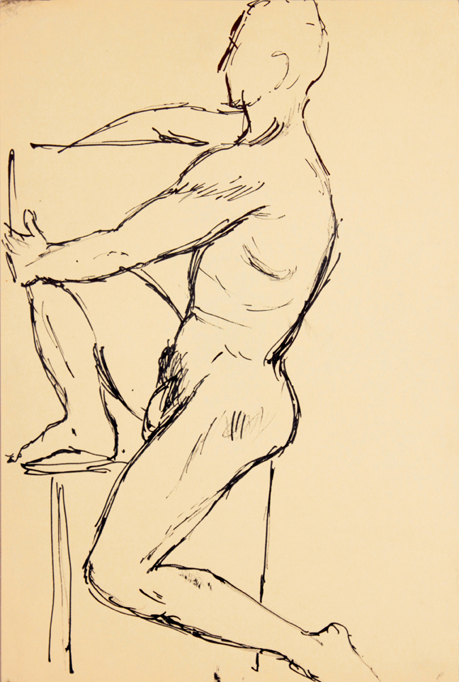 ND, Seated Male Model with One Leg Raised, Ink, 17.875x12, PPS 940.jpg