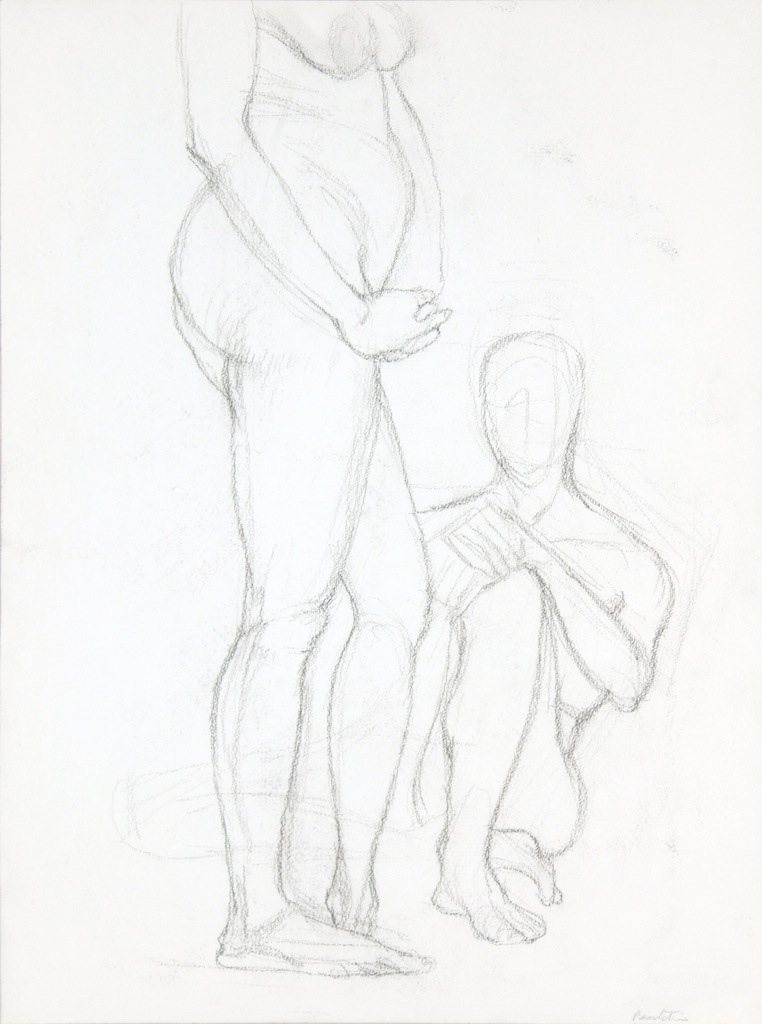 ND, Standing Female Figure and Seated Male Figure, Graphite, 20x14.875, PPS 953.JPG