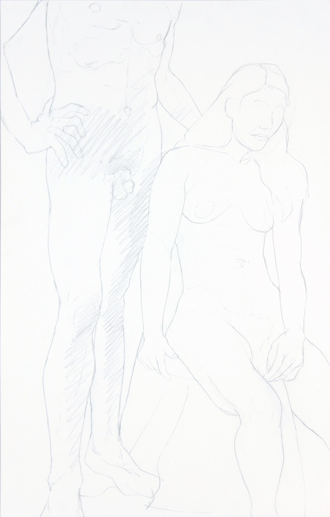 ND, Standing Male and Seated Female, Graphite, 22x14, PPS 959.JPG