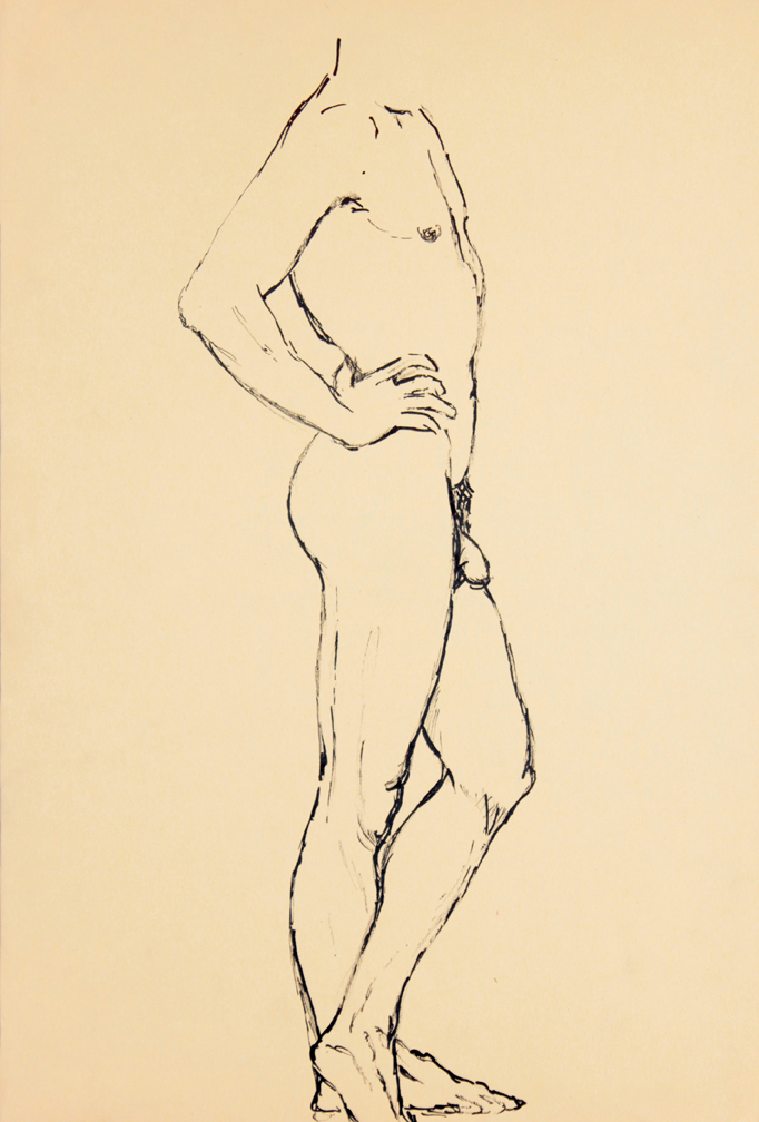 ND, Standing Male Nude (Side), Ink, 17.875x12, PPS 942.jpg