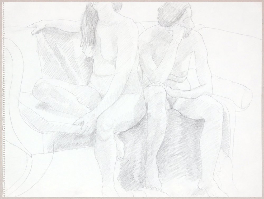 ND, Two Female Models Seated on Sofa, Graphite, 17.875x24, PPS 981.JPG