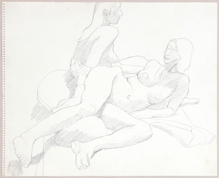ND, Two Female Nudes, One Reclined, Graphite, 13.875x16.875, PPS 932.jpg