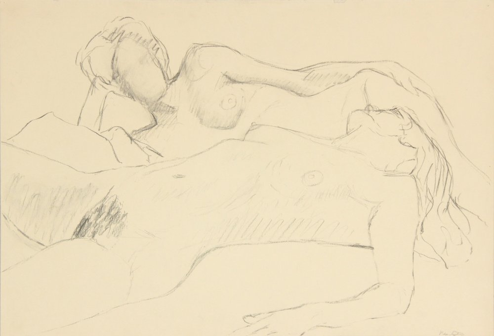 ND, Two Reclined Female Models, Graphite, 15x22, PPS 968.JPG