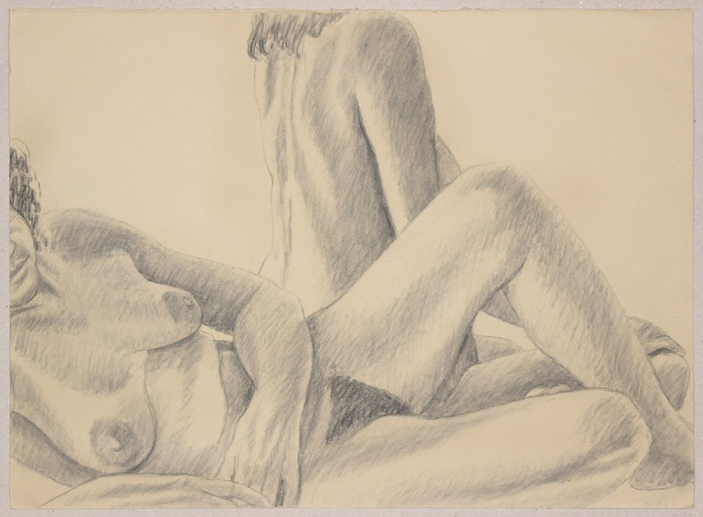 Two Female Models, One Reclined,  1986 Graphite 22.25 x 30.5 in