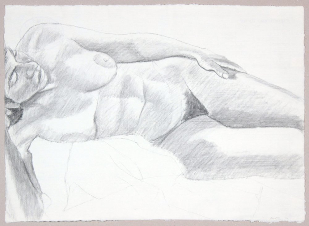 Reclining Female Model , 1986 Graphite 19 x 26.25 in