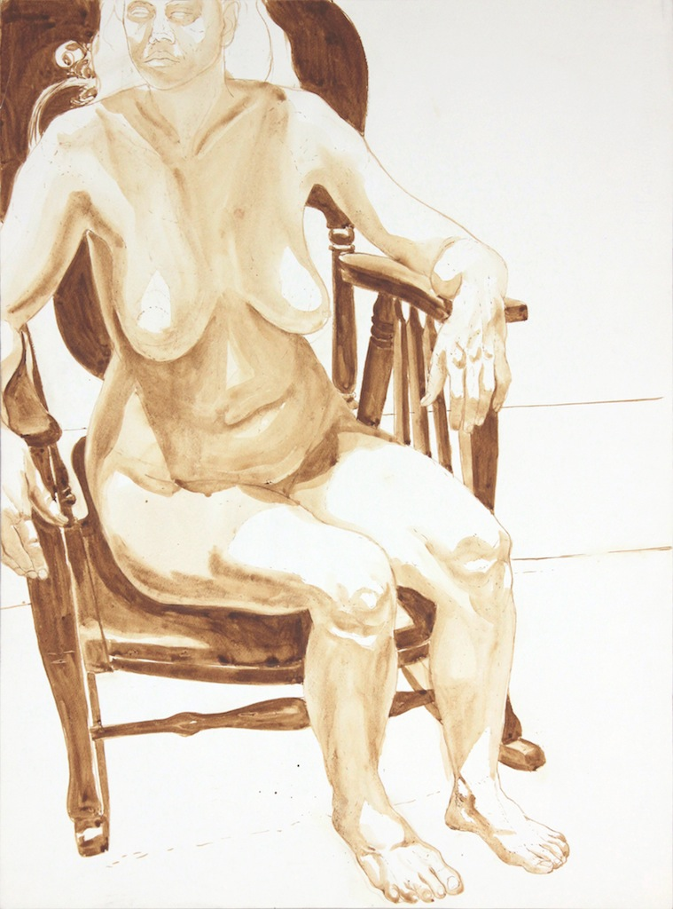 Female Nude Seated in Chair , 1972-1974 Wash 29.875 x 22 in