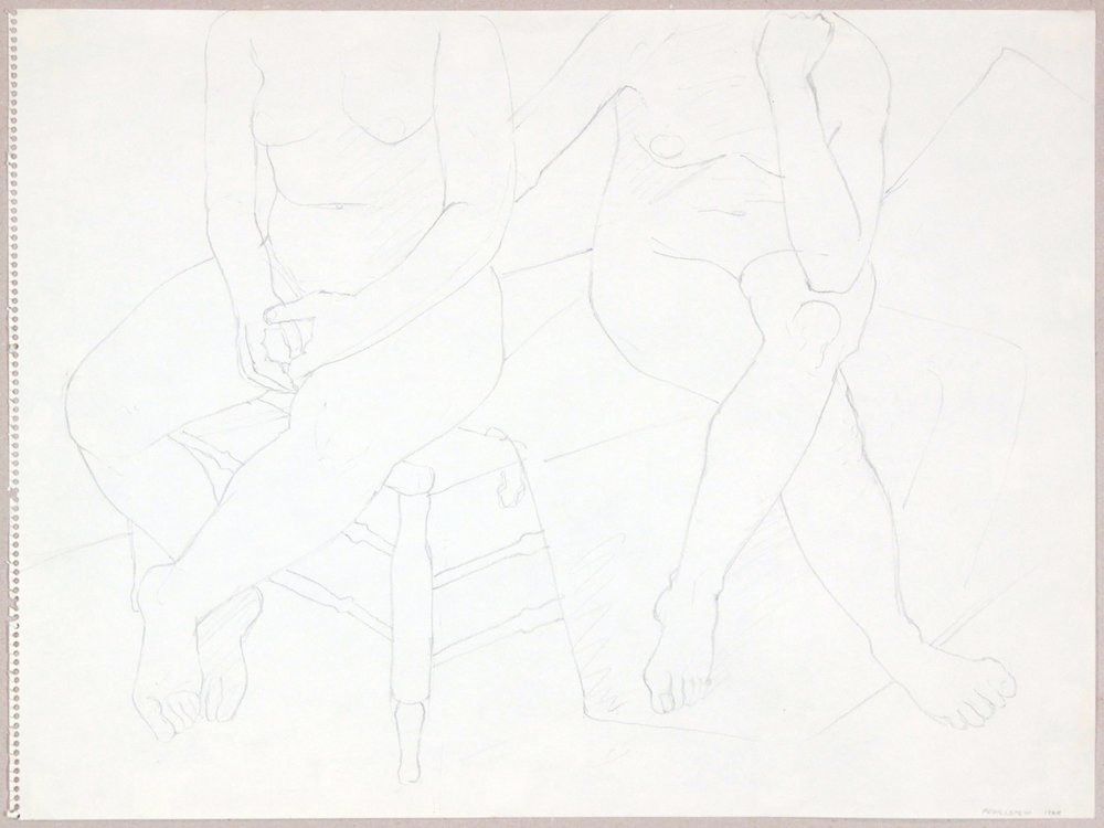 1969, Seated Models on Bed, Graphite, 18x24, PPS 980.JPG