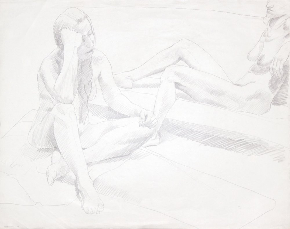 1969, Two Seated Female Nudes, Graphite, 22.5x28.5, PPS 990.JPG
