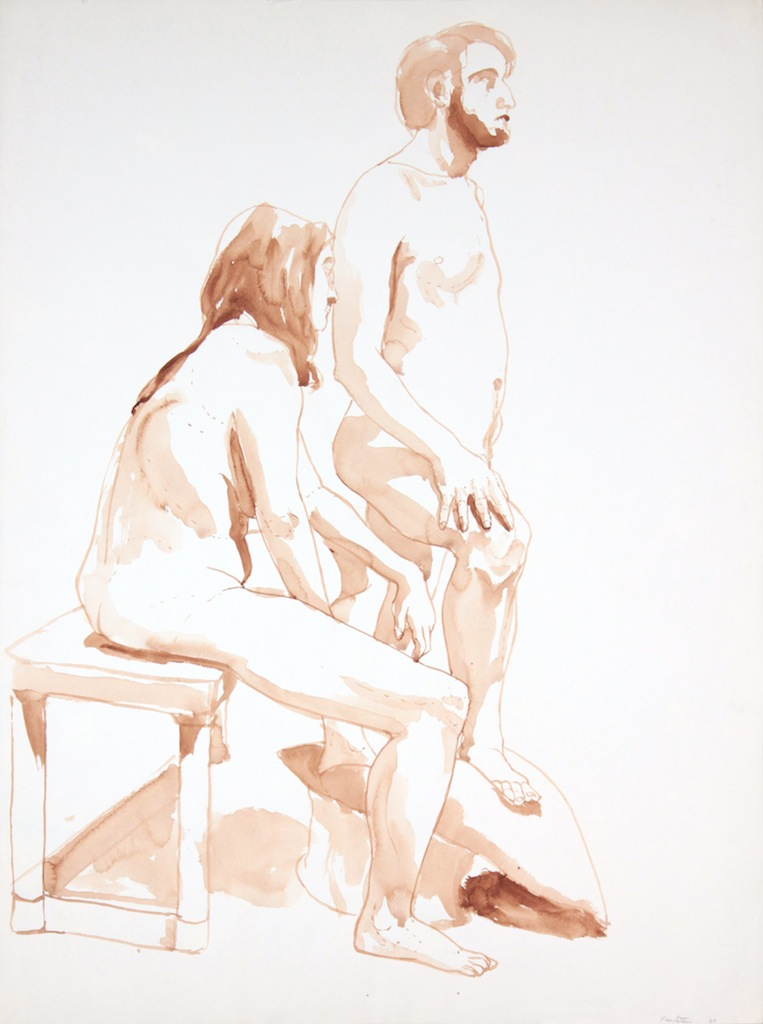 1969, Female and Male Models with Bench, Wash, 29.875x22, PPS 988.JPG