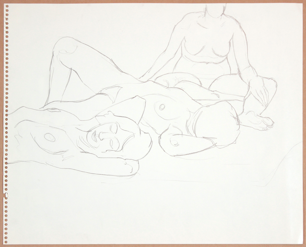 1964-65, Three Female Models, Two Reclining #2, Graphite, 13.75x16.875, PPS 927.jpg