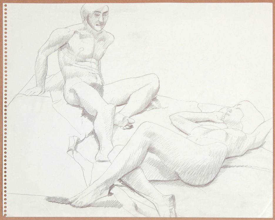 1964-65, Reclining Male Model and Reclined Female Model, Graphite, 13.75x17, PPS 928.jpg