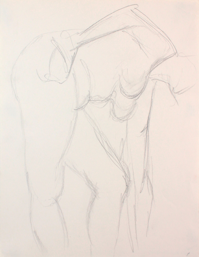 ND, Female Model Bending Over with Arm Outstretched, pencil, 12x9, PPS 852.JPG