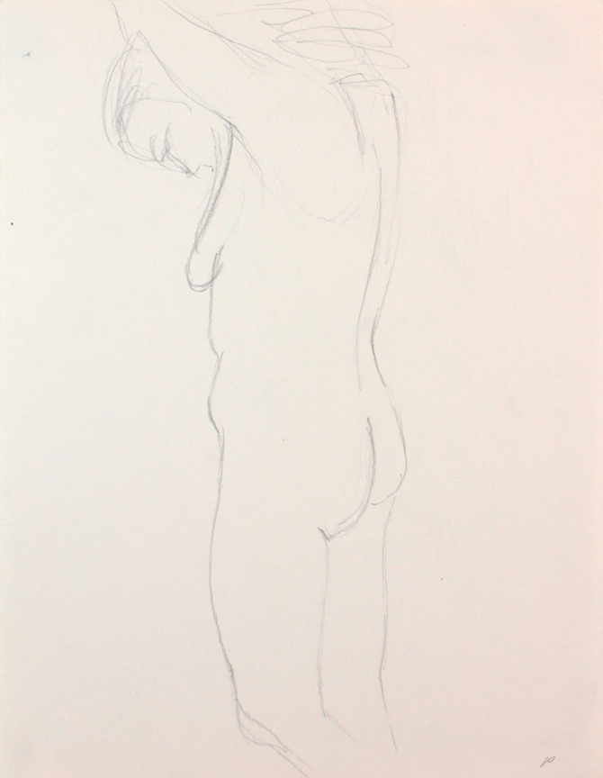 ND, Female Model with Head Bent Forward, pencil, 12x9, PPS 853.JPG