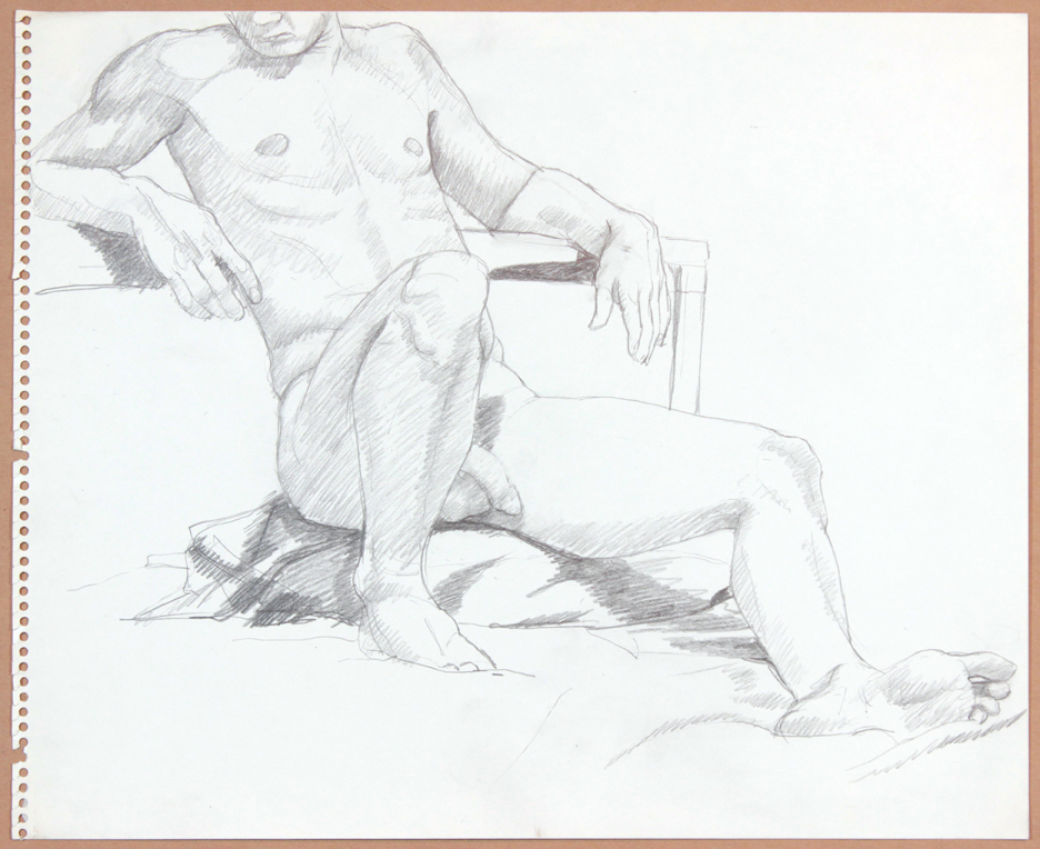 ND, Male Model Leaning Back with Leg Outstretched, Pencil, 17x13.75, PPS 914.jpg